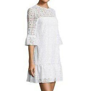 kate spade ny 3/4-sleeve lace flounce shift dress